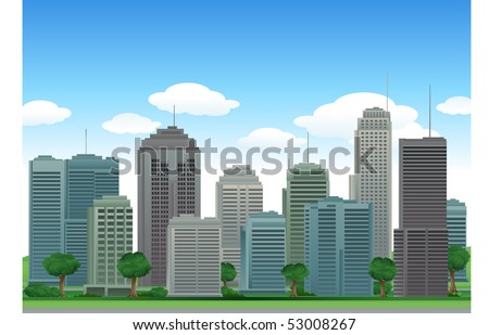 Nature city buildings - stock vector