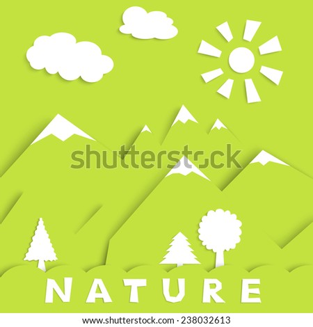 nature concept - green wood, mountains sun and clouds, vector illustration, EPS10 - stock vector