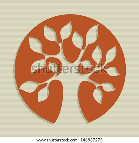 Nature concept tree symbol over stripes background. Vector file layered for easy manipulation and custom coloring. - stock vector