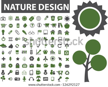 nature design icons set, vector - stock vector