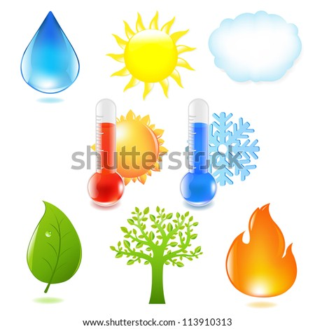 Nature Eco Set, Isolated On White Background, Vector Illustration - stock vector