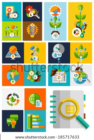 Nature ecology concepts collection | trendy flat design - stock vector