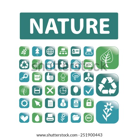 nature, ecology, environment flat isolated buttons, icons, signs, illustrations vector set on background - stock vector