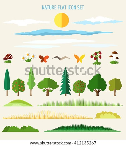 Nature flat icons. Eco life flat signs. Vector illustration - stock vector