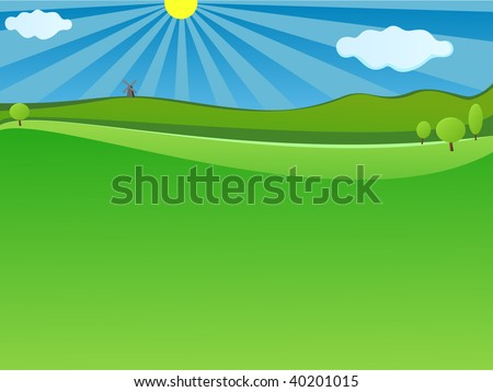 Nature Green landscape with blue sky for website background - stock vector
