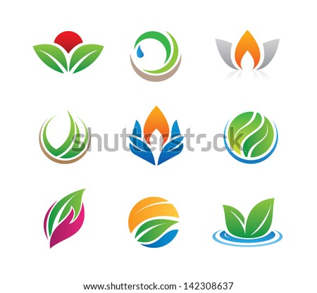 Nature green mother fruit logo icons - stock vector