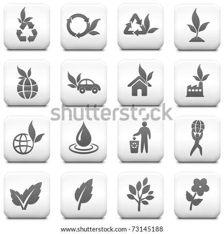 Nature Icon on Square Black and White Button Collection Original Illustration - stock vector