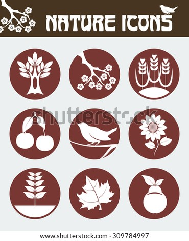Nature icon set including icons of  maple leaf, flowered sakura branch, oak tree, sunflower, bird on the branch, cherry, pear, wheat and seedling. Flat vector design.  - stock vector