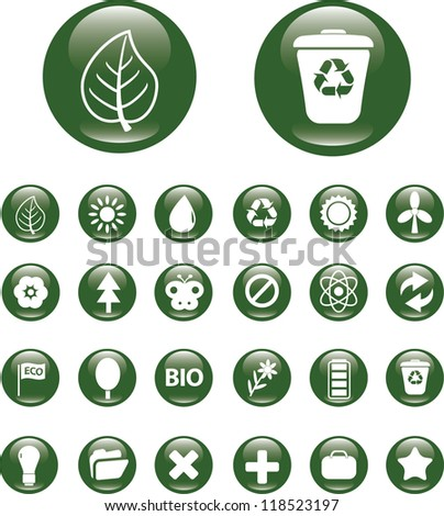 nature icons, buttons set, vector - stock vector