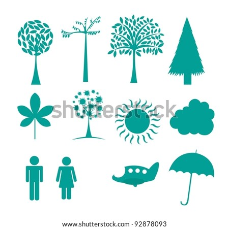 nature icons isolated over white background. vector illustration - stock vector