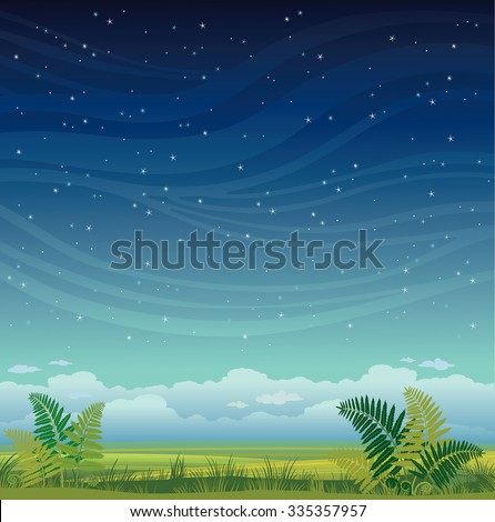 Nature landscape - grass with green fern on a night starry sky. Summer vector illustration. - stock vector
