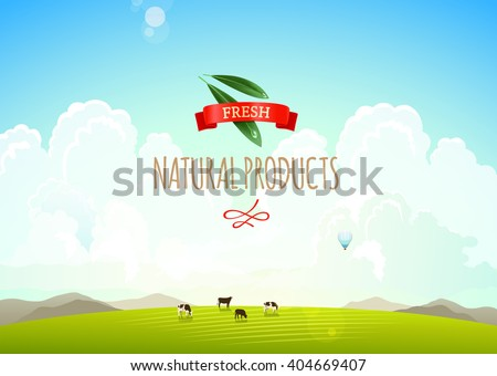 Nature landscape illustration with mountains, hills and clouds. Cows on a green meadow. Concept of fresh, natural products - stock vector