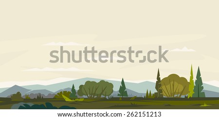 Nature landscape with hills and mountains, bushes with trees and spruces, ground with grass, sample geometric shapes, game background, panorama - stock vector