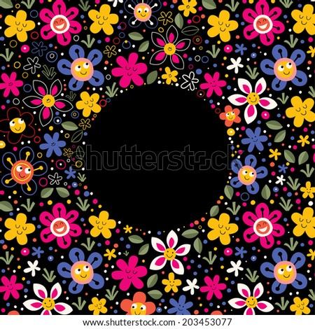 nature love harmony characters flowers fun cartoon circle frame background - stock vector