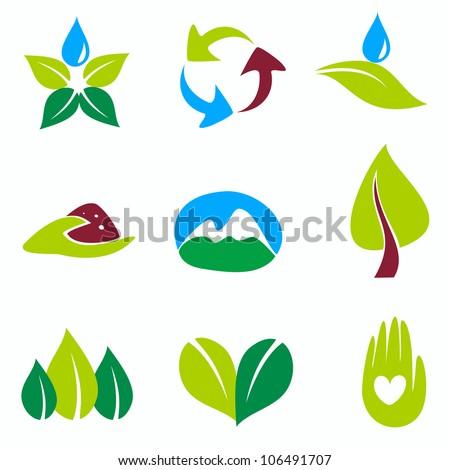 nature set of symbols, green and bio concepts - stock vector