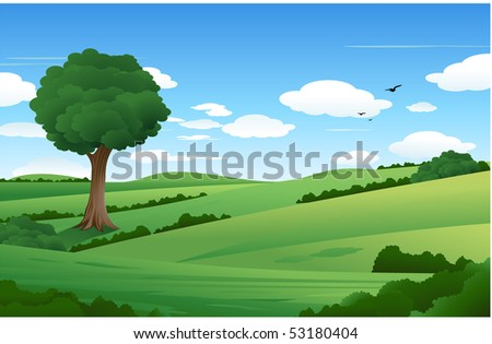 Nature summer landscape - stock vector