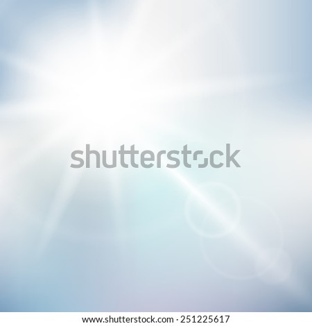 Nature sunny sky background with bokeh - stock vector
