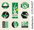 Nature-themed labels, banners and badges with green leaves. Vector design elements. - stock vector