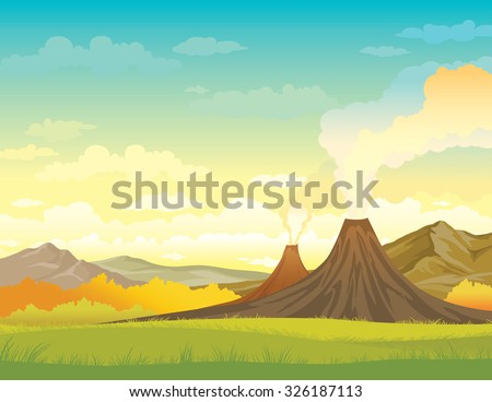 Nature vector illustration - smoky volcanoes, mountains and green grass on a blue cloudy sky. Summer landscape. - stock vector