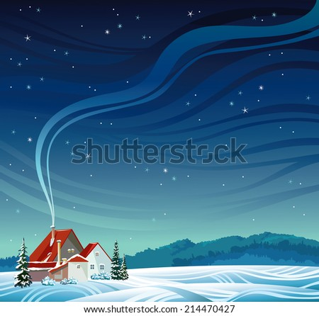 Nature vector landscape - Winter night with house and smoke on a starry sky. - stock vector