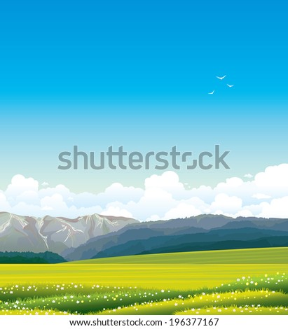 Nature vector landscape with green grass, rural meadow, forest and mountains. - stock vector