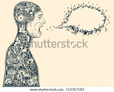 Nature versus Technology. Birds in speech bubble formation as the essence of words. - stock vector