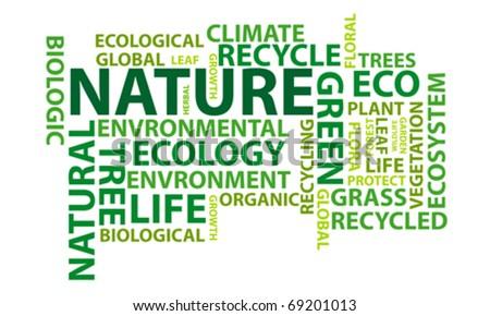 Nature word cloud conceptual illustration - stock vector
