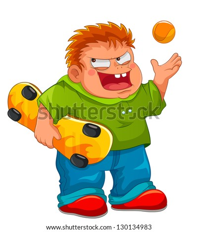 naughty boy holding his skateboard and smiling wickedly (JPEG available in my gallery) - stock vector
