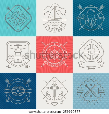 Nautical, adventures and travel emblems signs and labels - Line drawing vector illustration - stock vector