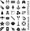 Nautical and marine icons - stock vector