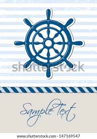 Nautical background with steering wheel, marine card - stock vector