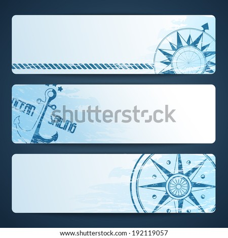 Nautical background with wind rose compass and anchor - stock vector