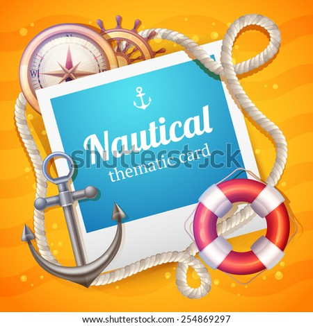 Nautical card with marine and sailing symbols set and rope frame vector illustration - stock vector