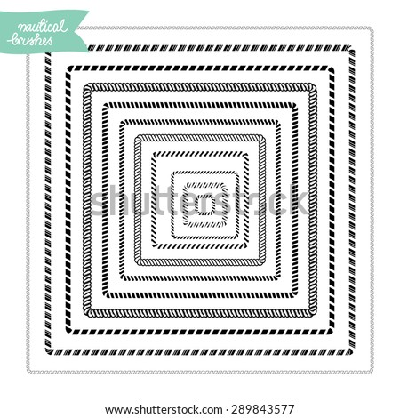 Nautical custom made brushes frames in square shape - stock vector