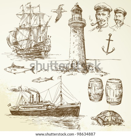nautical elements - hand drawn set - stock vector