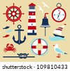 Nautical elements in cartoon style - stock vector