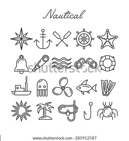 Nautical Icon Set. Vector Symbols in Line Art Style - stock vector