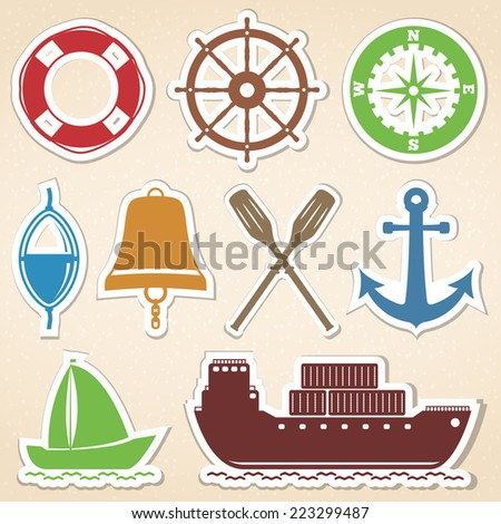 Nautical icons, colored stickers style, vector eps10 illustration - stock vector