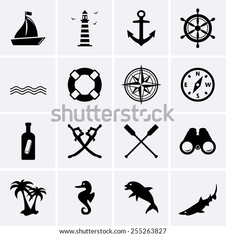 Nautical icons. Vector for web - stock vector