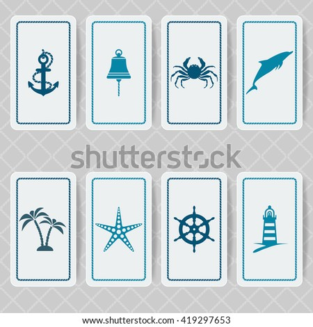 nautical invitation card set. vector illustration - eps 10 - stock vector