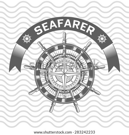 nautical label. vintage rudder, icon and design element. - stock vector