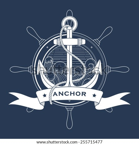 Nautical logo with a lighthouse and anchor - stock vector