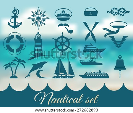 nautical marine icons set - vector illustration. eps 8 - stock vector