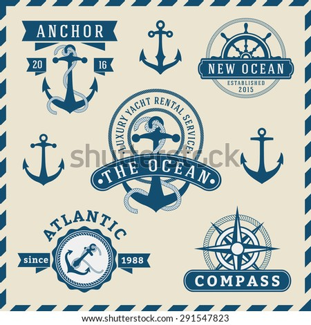 Nautical, Navigational, Seafaring and Marine insignia logotype vintage design with anchor, rope, steering wheel, compass |  Only Free Font Used, Vector illustration   - stock vector
