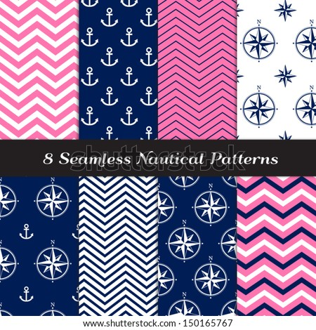 Nautical Navy Blue, Pink and White Chevron and Anchors and Compasses Patterns N1. Pink Nautical Backgrounds. Pattern Swatches included and made with Global Colors. - stock vector