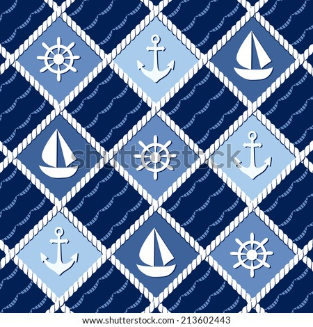 Nautical Anchor Computer Wallpaper Or Marine Themed Seamless Pattern With Anchors