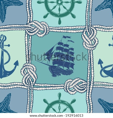 Nautical patchwork seamless pattern with ropes, starfish, sailing ship, anchor and wheel - stock vector