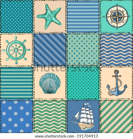 Nautical patchwork seamless pattern with seashell, starfish, anchor, wheel, sailboat and compass - stock vector