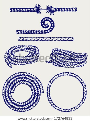 Nautical rope knots. Doodle style - stock vector