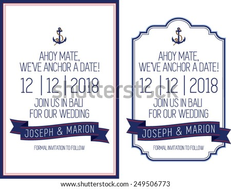 Nautical Save The Date Theme - stock vector